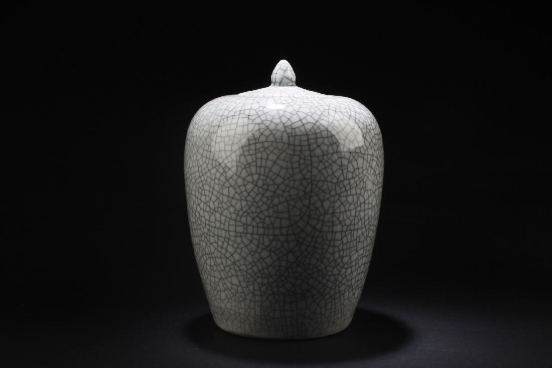 Chinese Crackleware Porcelain Jar with Lid