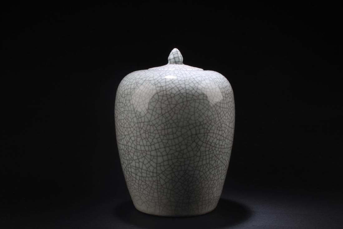 Chinese Crackleware Porcelain Jar with Lid - 2