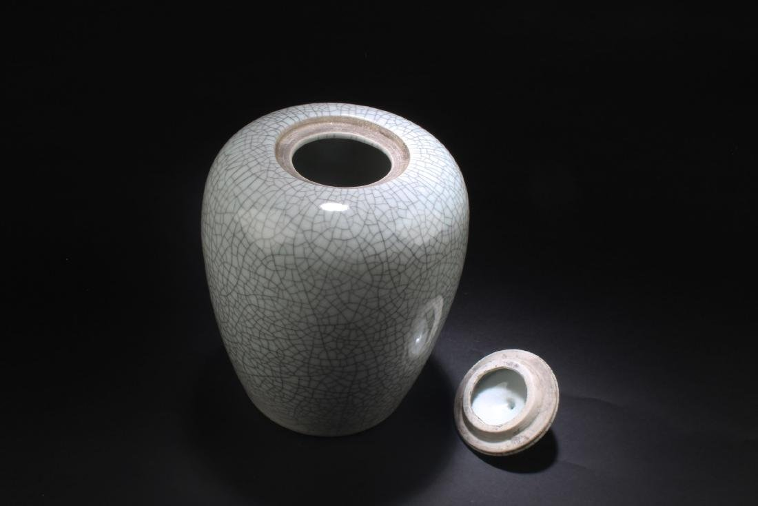 Chinese Crackleware Porcelain Jar with Lid - 3