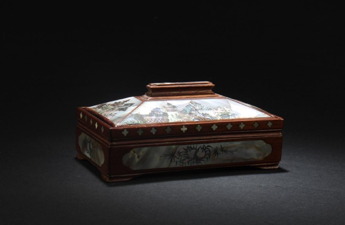 Chinese  Rectangular Shaped Hardwood Box with Mother