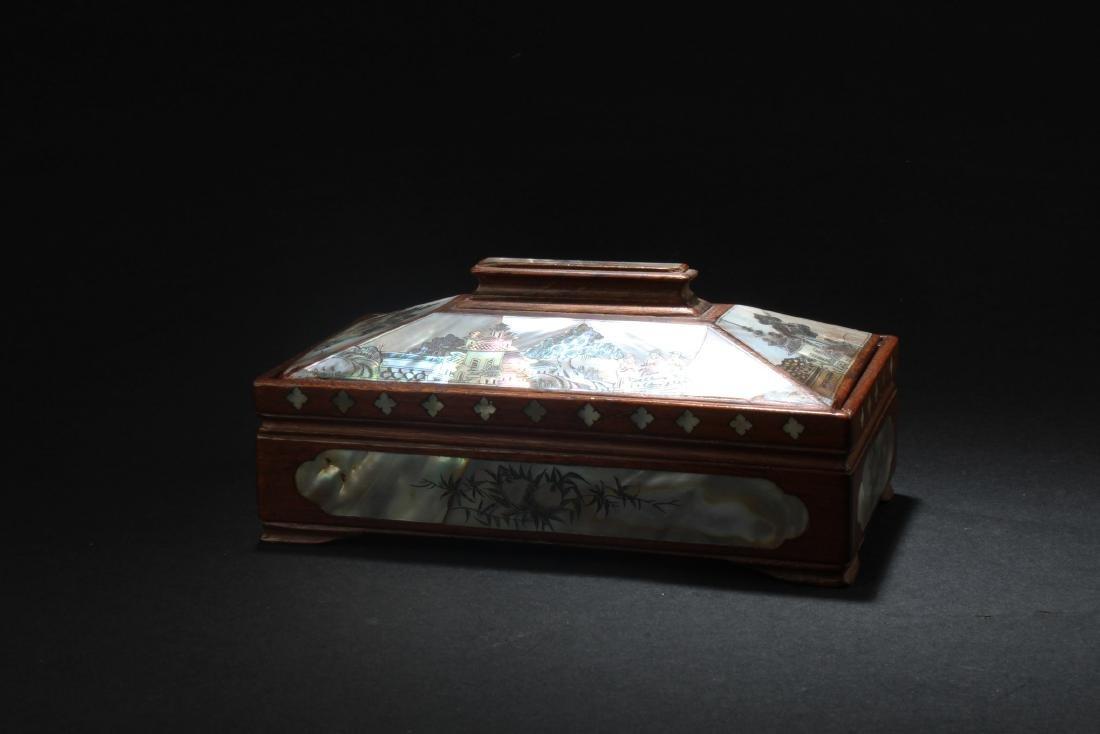 Chinese  Rectangular Shaped Hardwood Box with Mother - 2