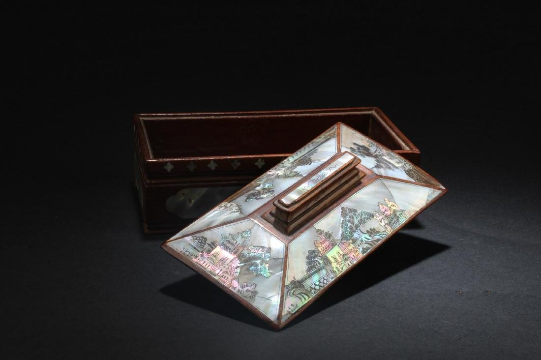 Chinese  Rectangular Shaped Hardwood Box with Mother - 3
