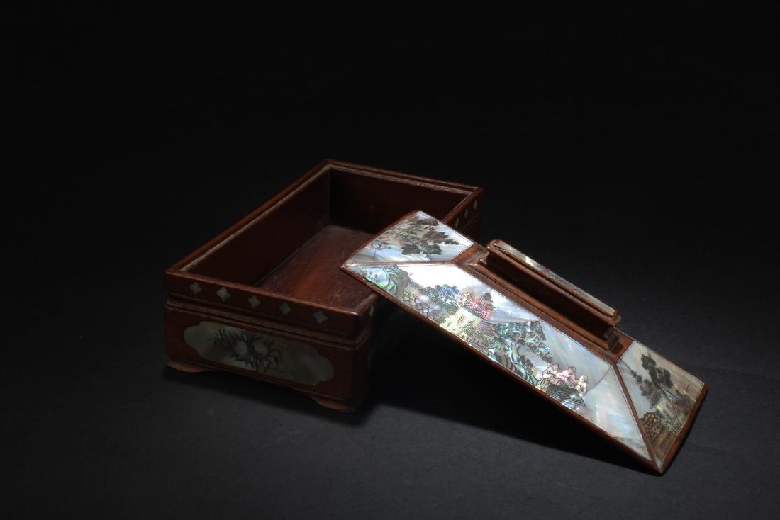 Chinese  Rectangular Shaped Hardwood Box with Mother - 4