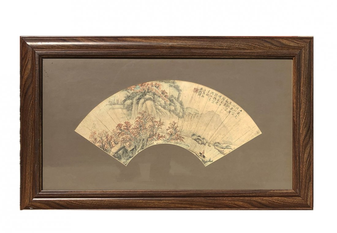 A Framed Fan-Shaped Painting