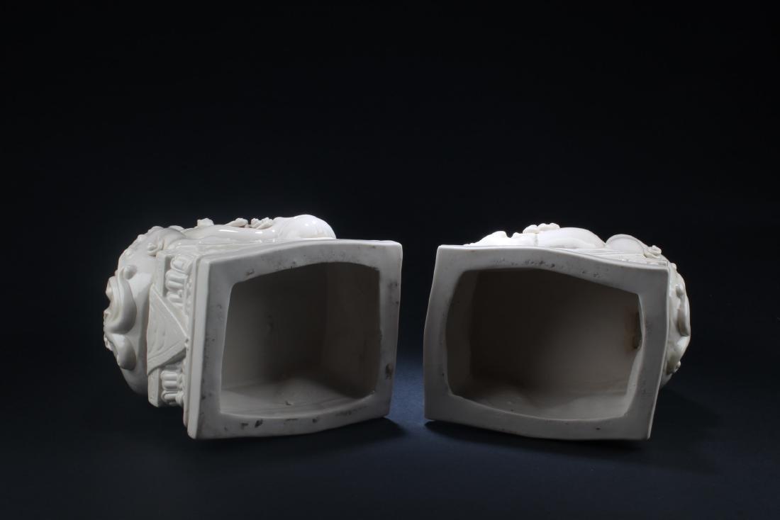 A Pair of Blanc De Chine Foo Dog Display - 4