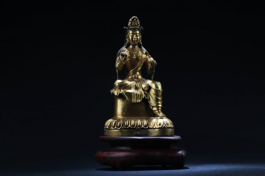 Chinese Gilt Bronze Bodhisattva Statue