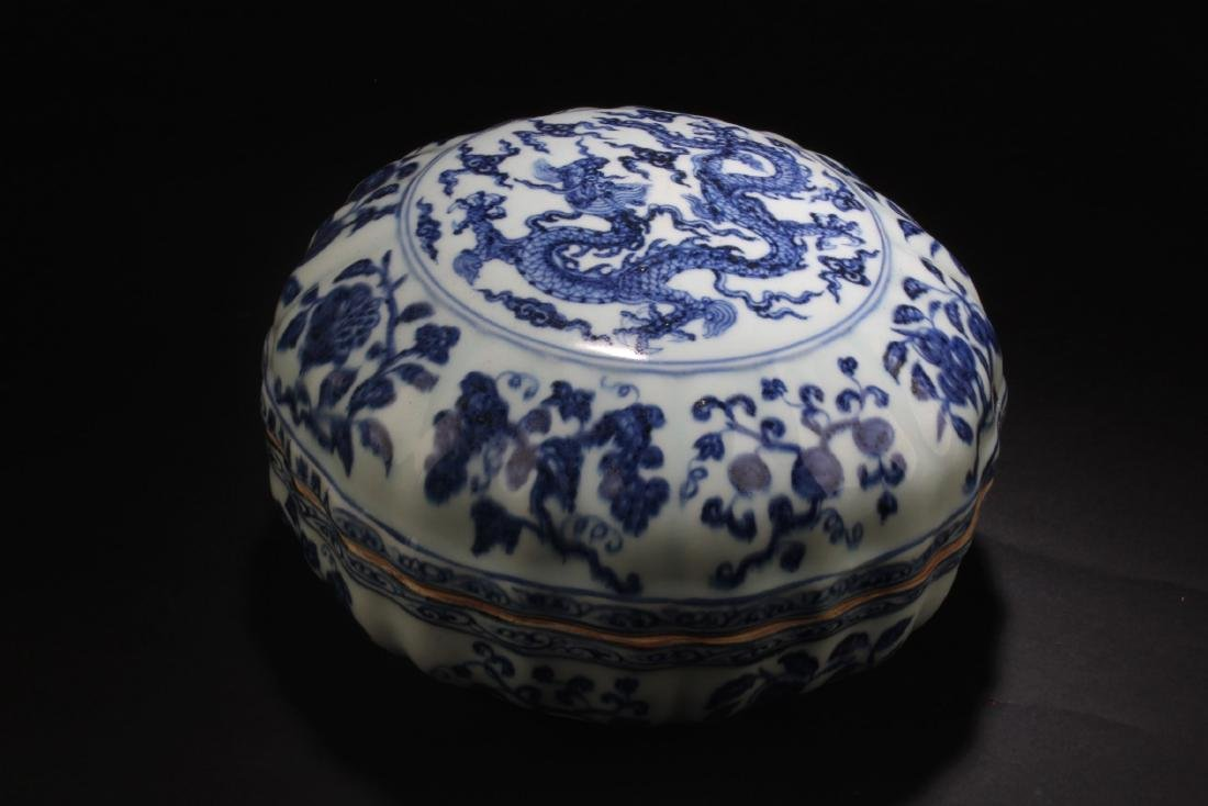 Chinese Blue & White Round Container