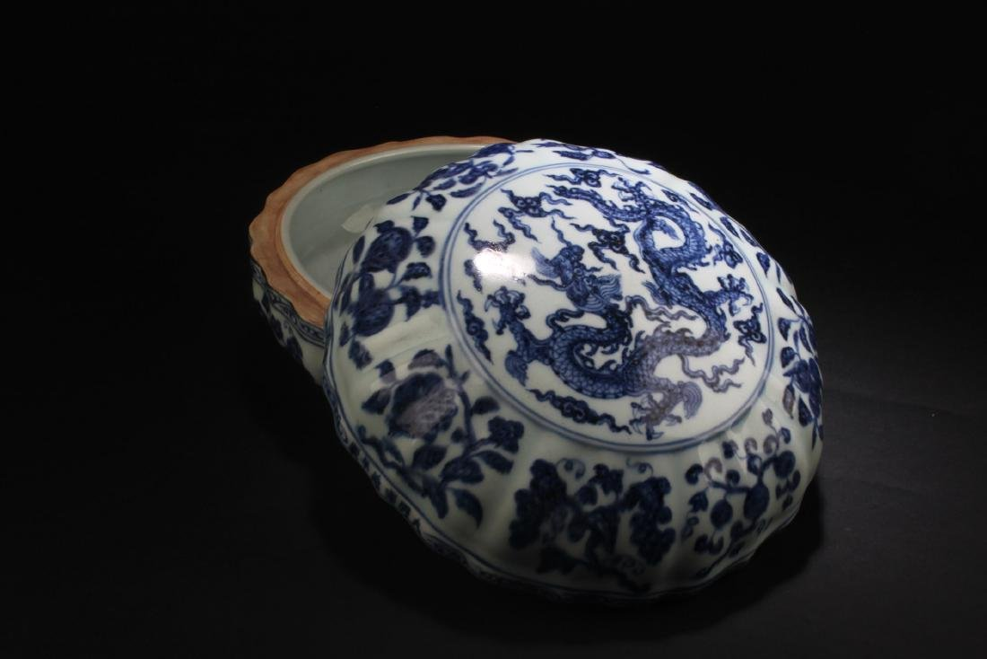 Chinese Blue & White Round Container - 2