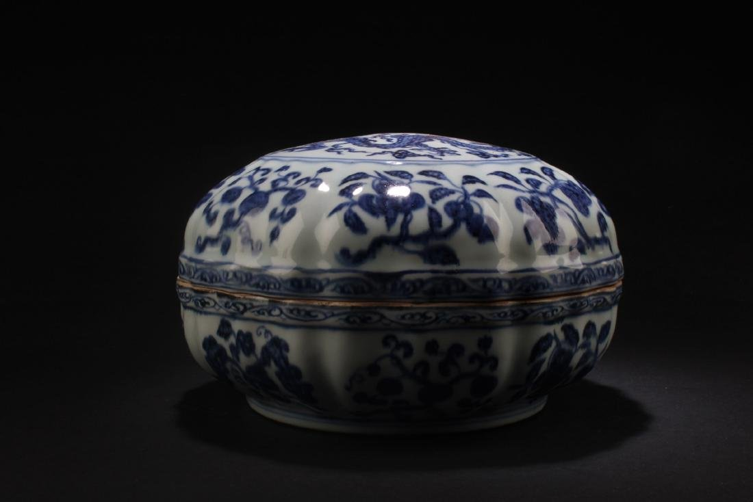 Chinese Blue & White Round Container - 4
