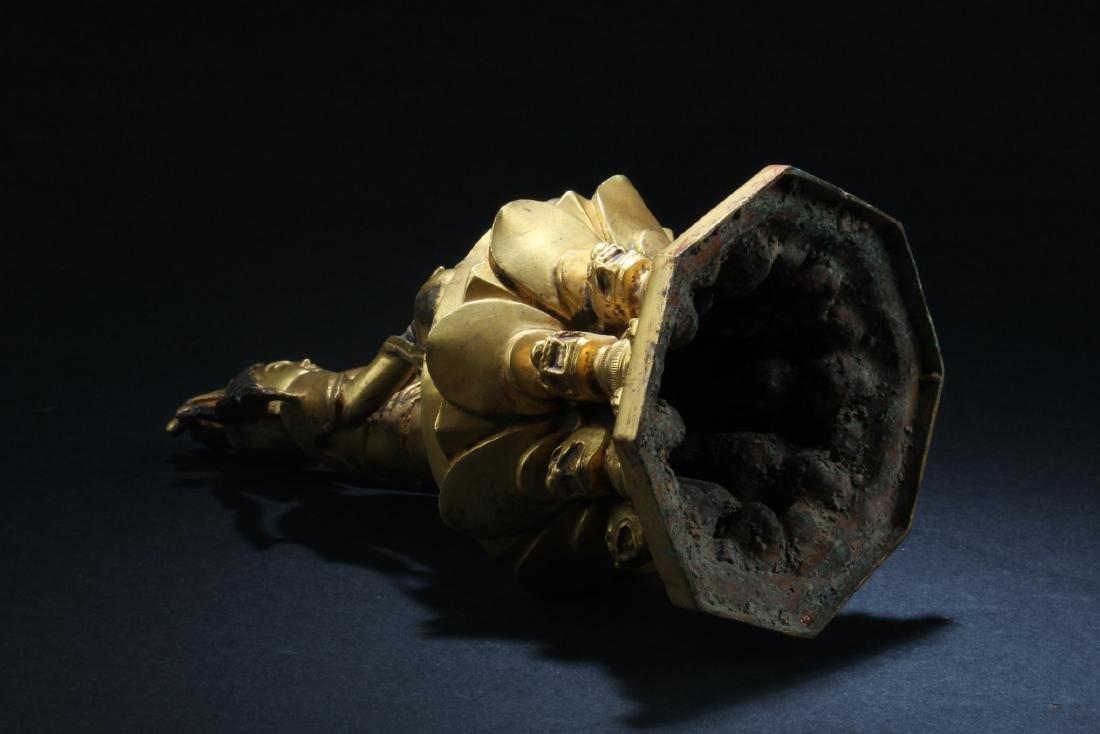 Chinese Gilt Bronze Bodhisattva Statue - 6