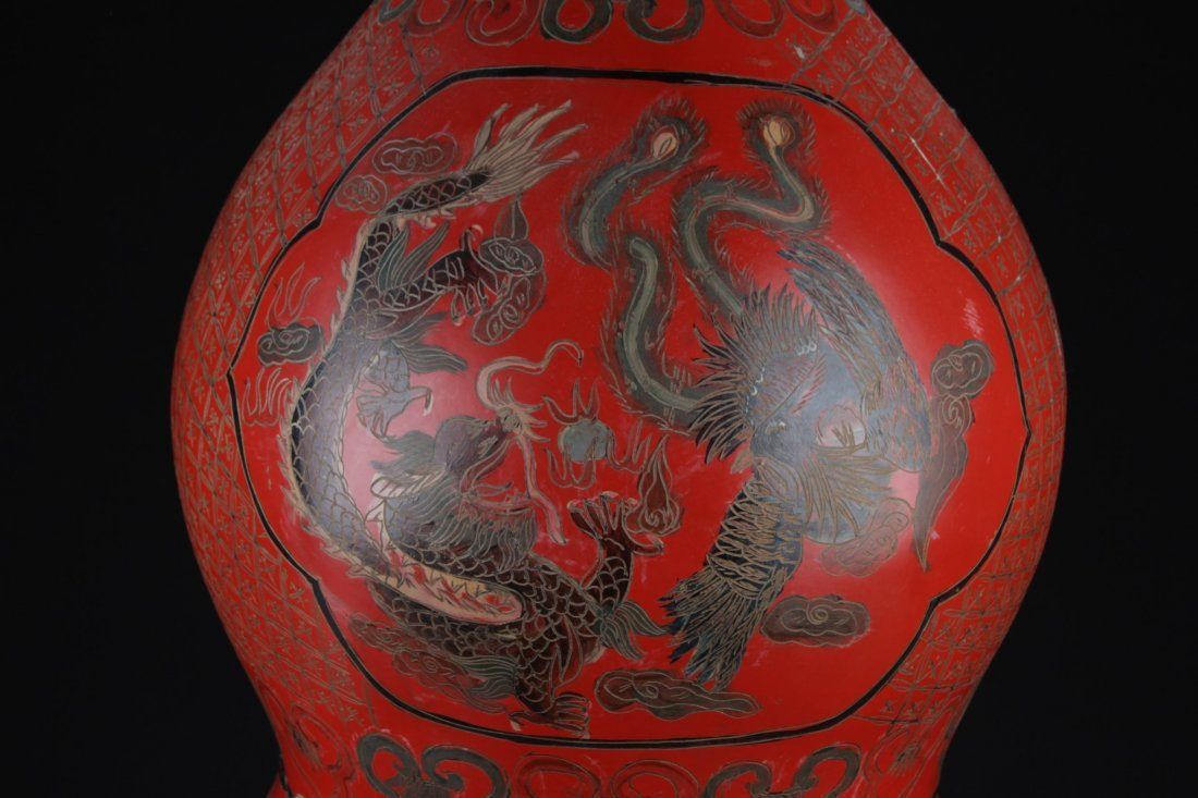 Large Chinese Cinnabar Lacquered Double Gourd - 2