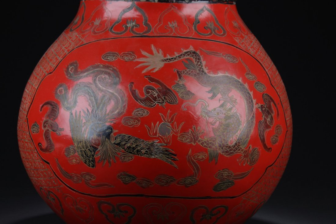Large Chinese Cinnabar Lacquered Double Gourd - 3