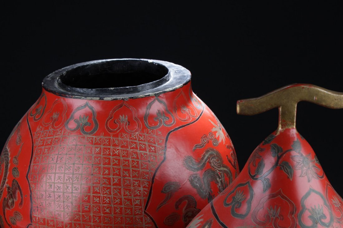 Large Chinese Cinnabar Lacquered Double Gourd - 4