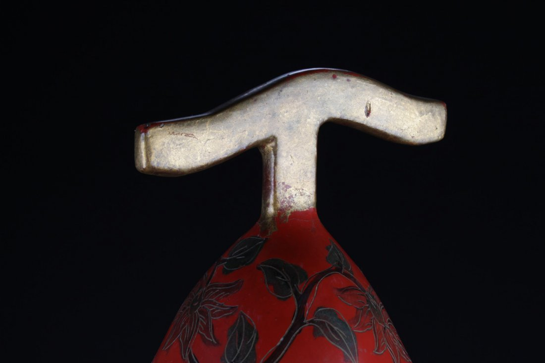 Large Chinese Cinnabar Lacquered Double Gourd - 6