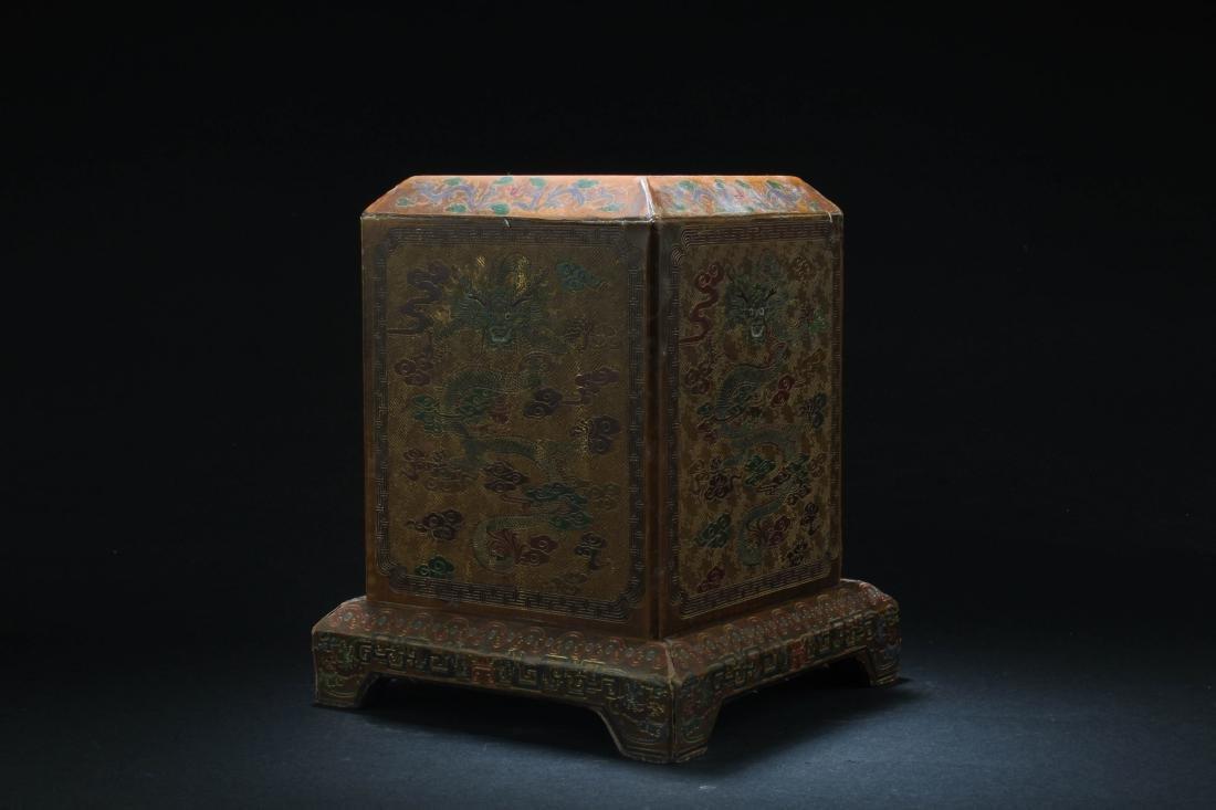Chinese Hardwood Square Box - 2