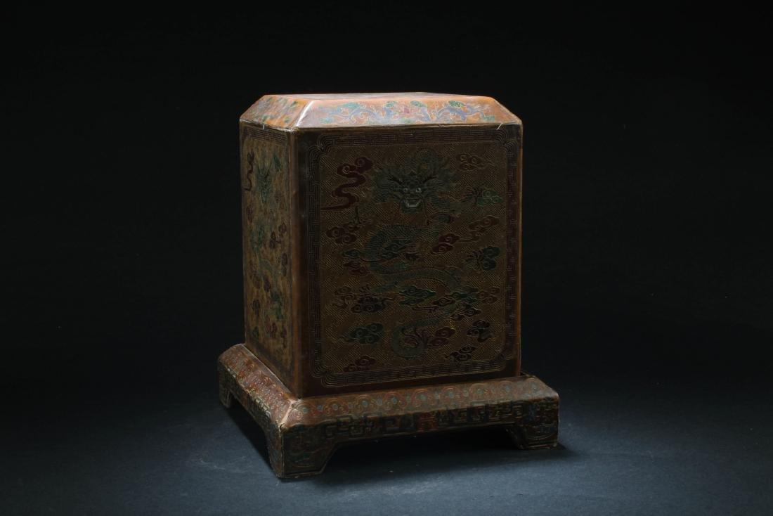 Chinese Hardwood Square Box - 3