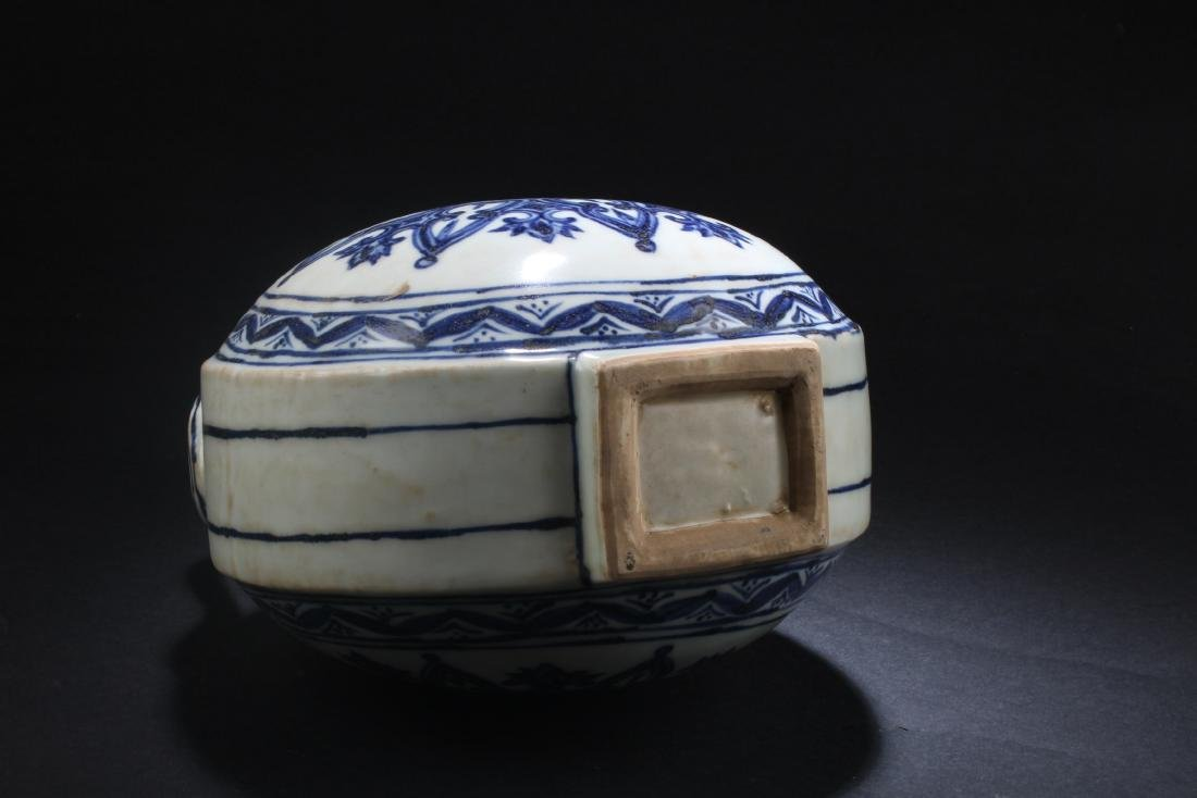 Chinese Blue & White Porcelain MoonFlask Vase - 6