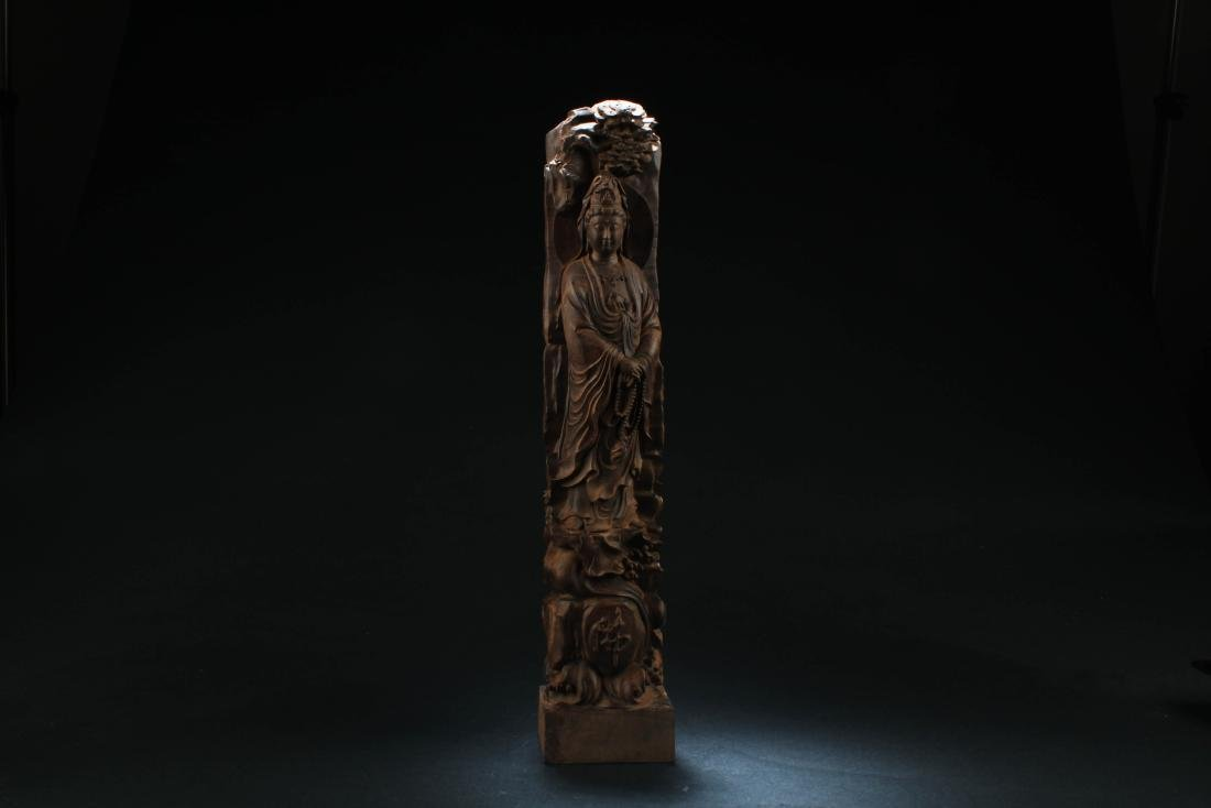 Chinese Hardwood Carved Guanyin Statue