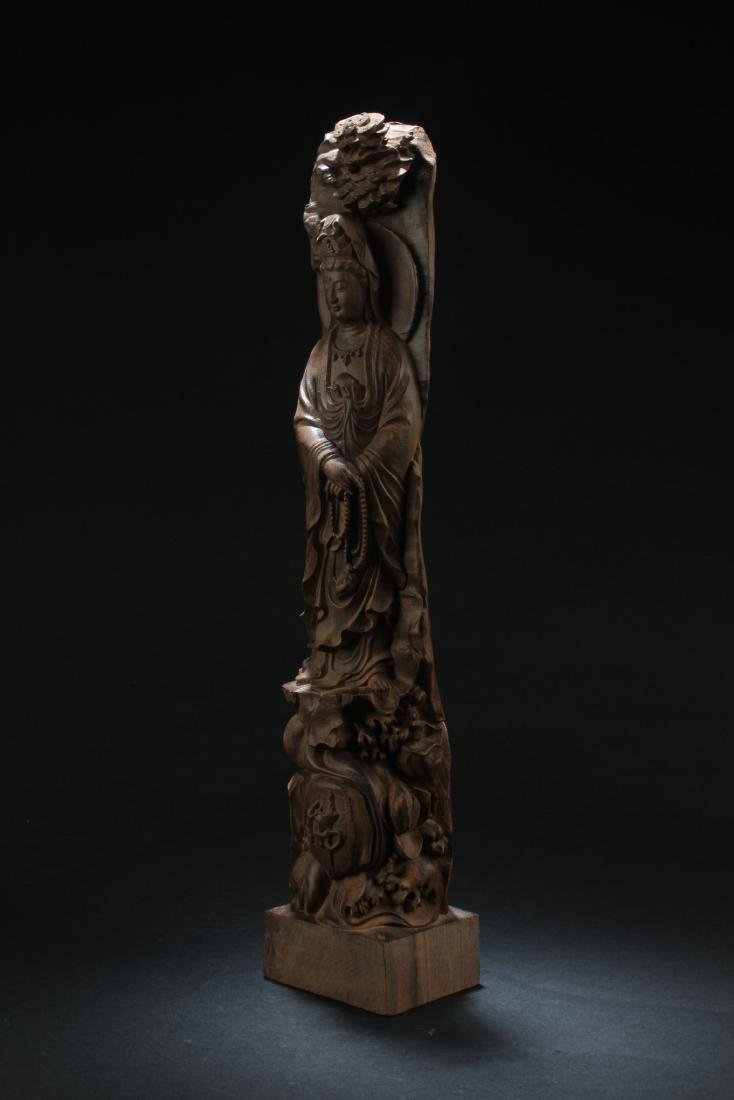 Chinese Hardwood Carved Guanyin Statue - 2