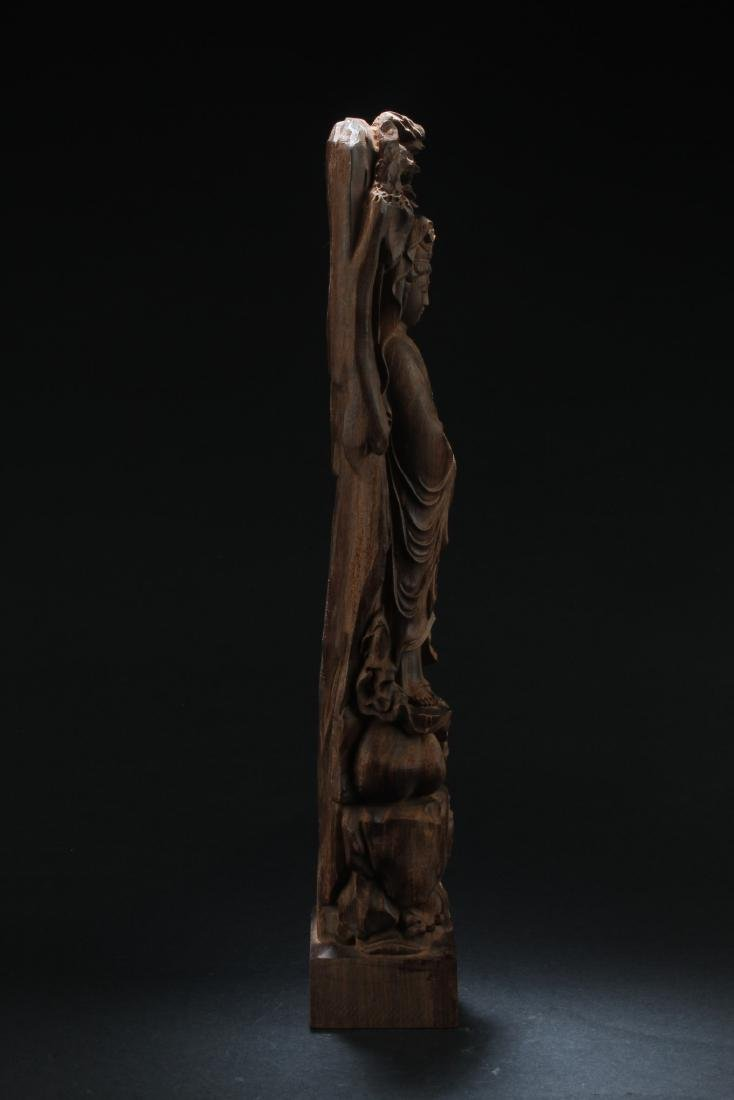 Chinese Hardwood Carved Guanyin Statue - 4