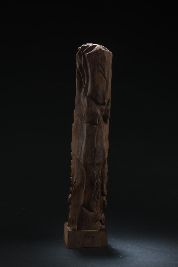 Chinese Hardwood Carved Guanyin Statue - 5
