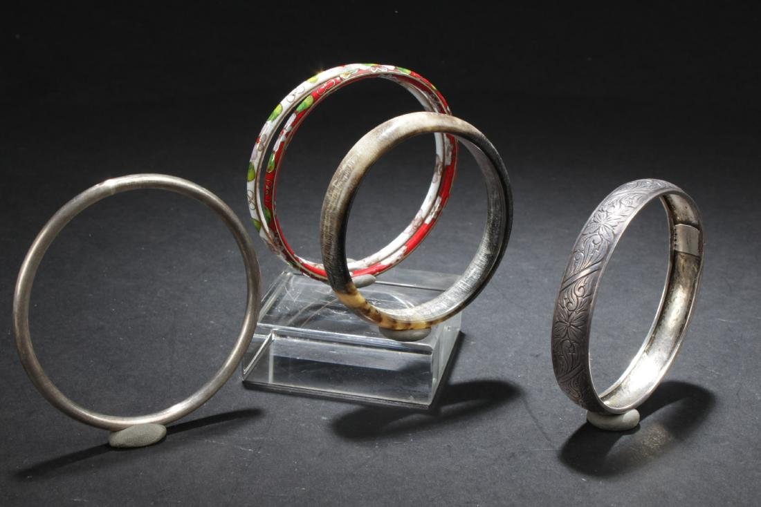 A Set of Five Silver/Cloisonne Bracelets