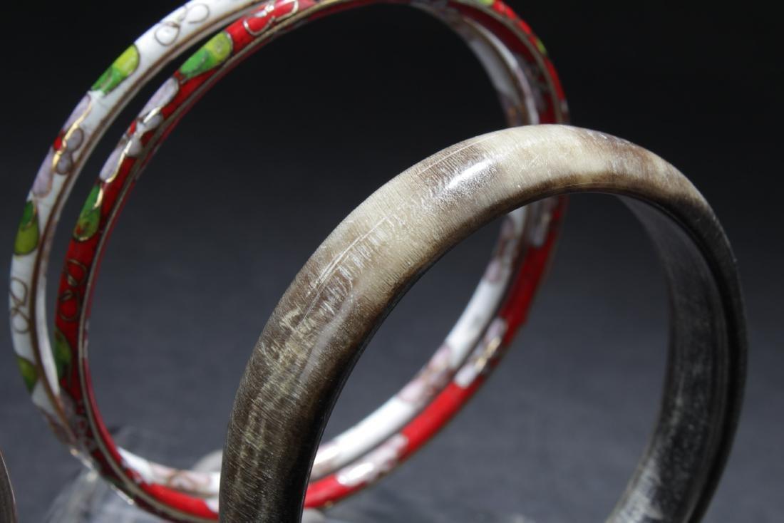 A Set of Five Silver/Cloisonne Bracelets - 3
