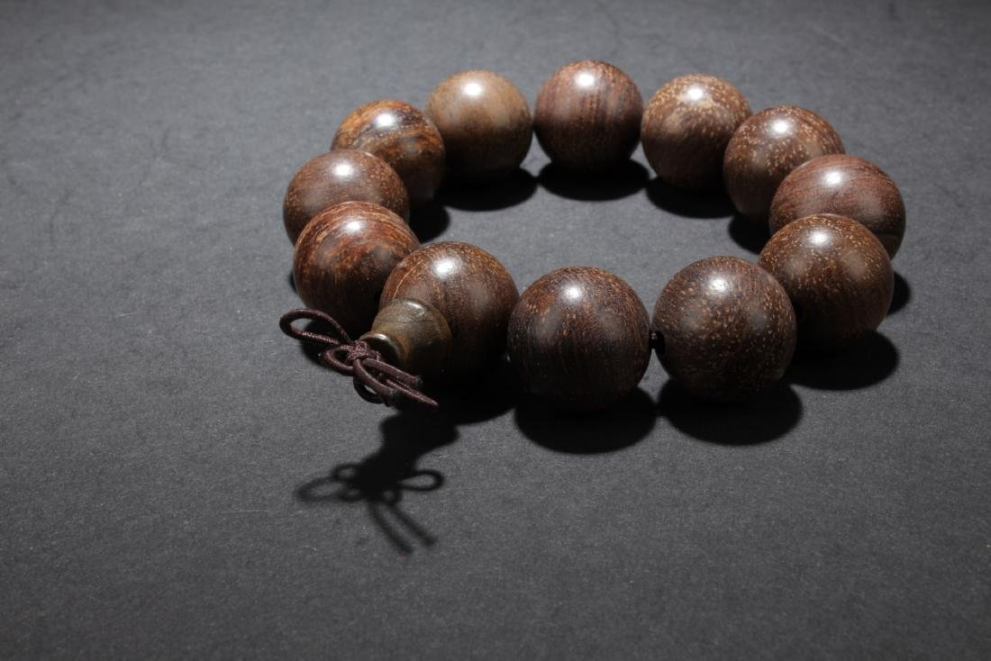 Chinese Wood (Possibly Huanghuali) Bead Bracelet - 2