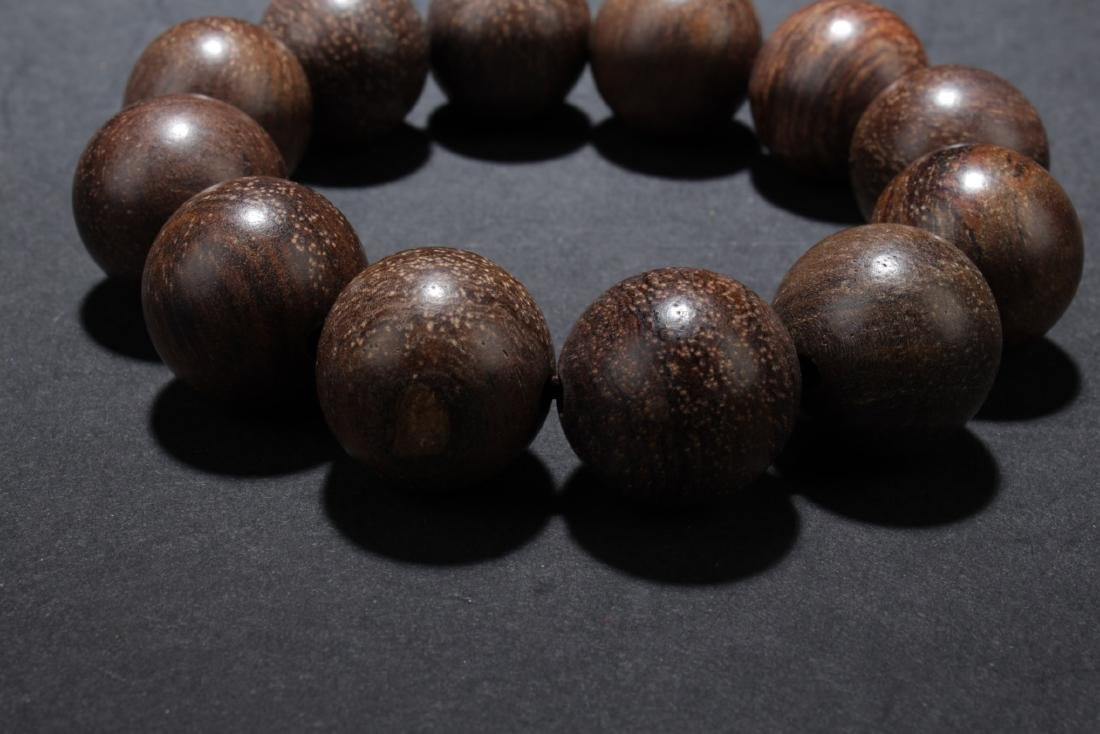 Chinese Wood (Possibly Huanghuali) Bead Bracelet - 4