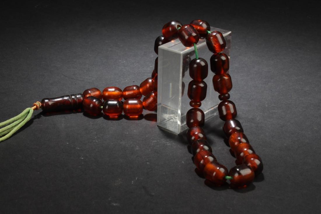 Antique Chinese Amber Prayer Beads