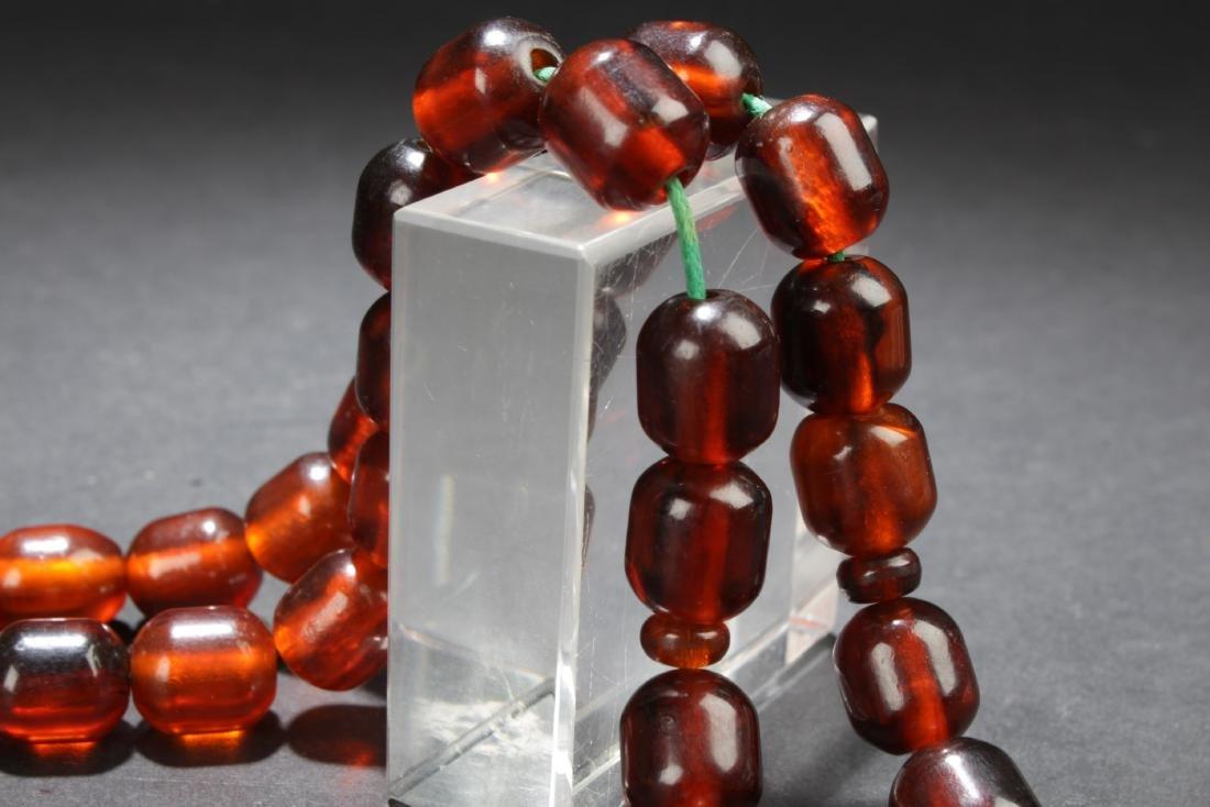 Antique Chinese Amber Prayer Beads - 2