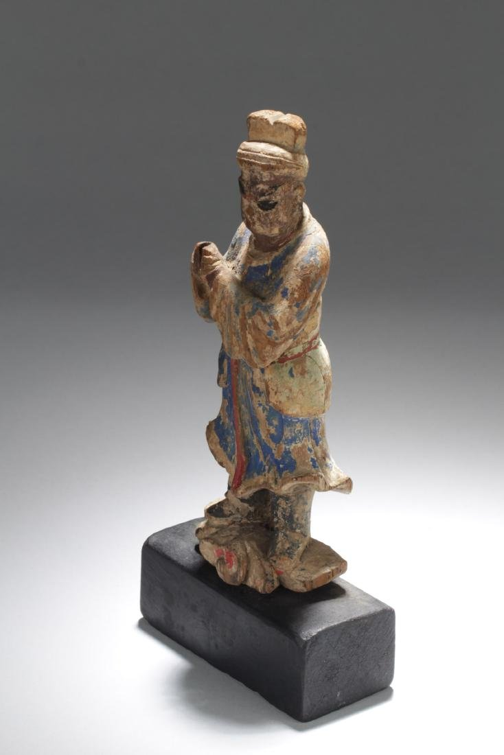 Antique Chinese Wooden Carved Statue Figure - 3