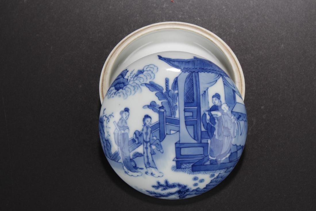 Antique Chinese Blue & White Porcelain ink Container