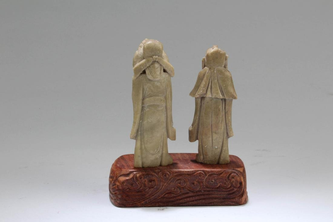 A Pair of Carved Figurines - 3