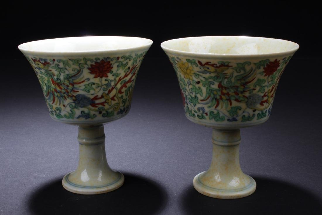 A Pair of Chinese Porcelain Stem Cups