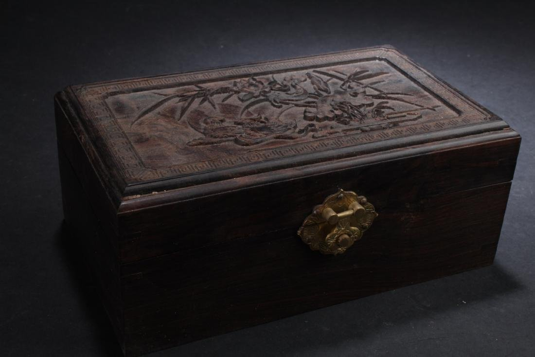 Chinese Hardwood Box filled with Chinese Coins