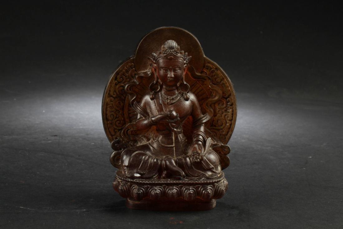 Chinese Peking Glass Bodhisattva Statue