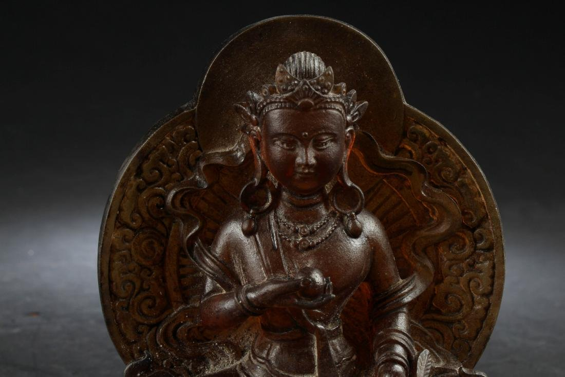 Chinese Peking Glass Bodhisattva Statue - 2