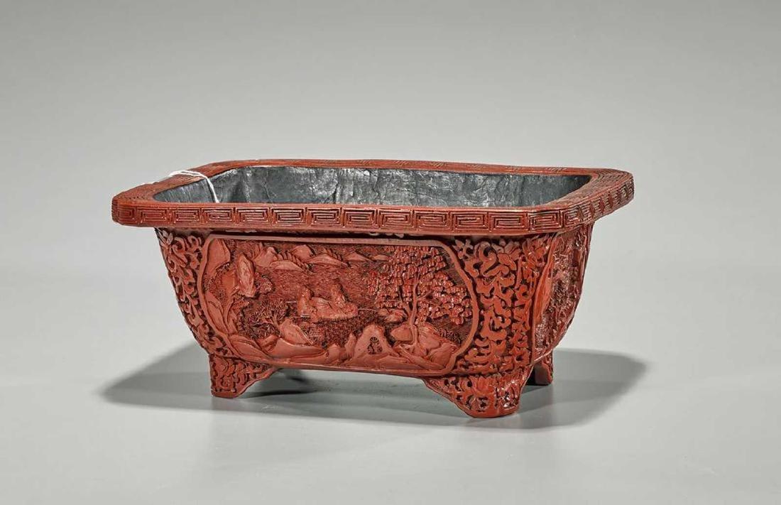 Chinese Cinnabar Lacquered Rectangular Bowl