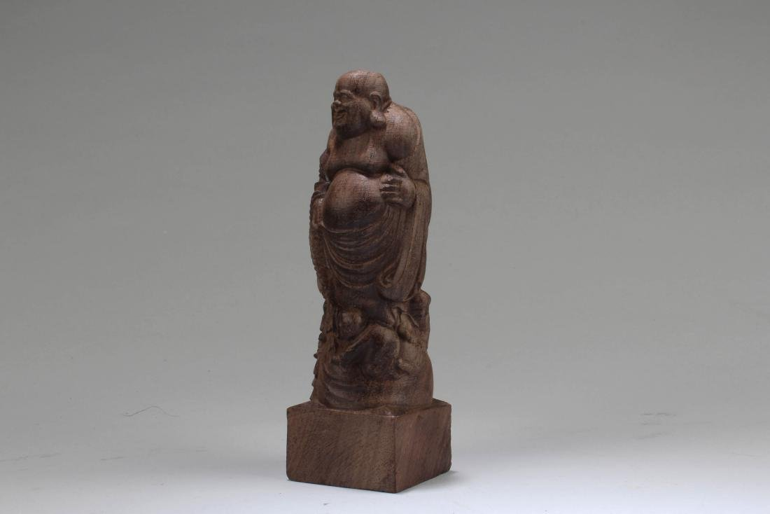 Chinese Wooden Carved Buddha Statue - 2