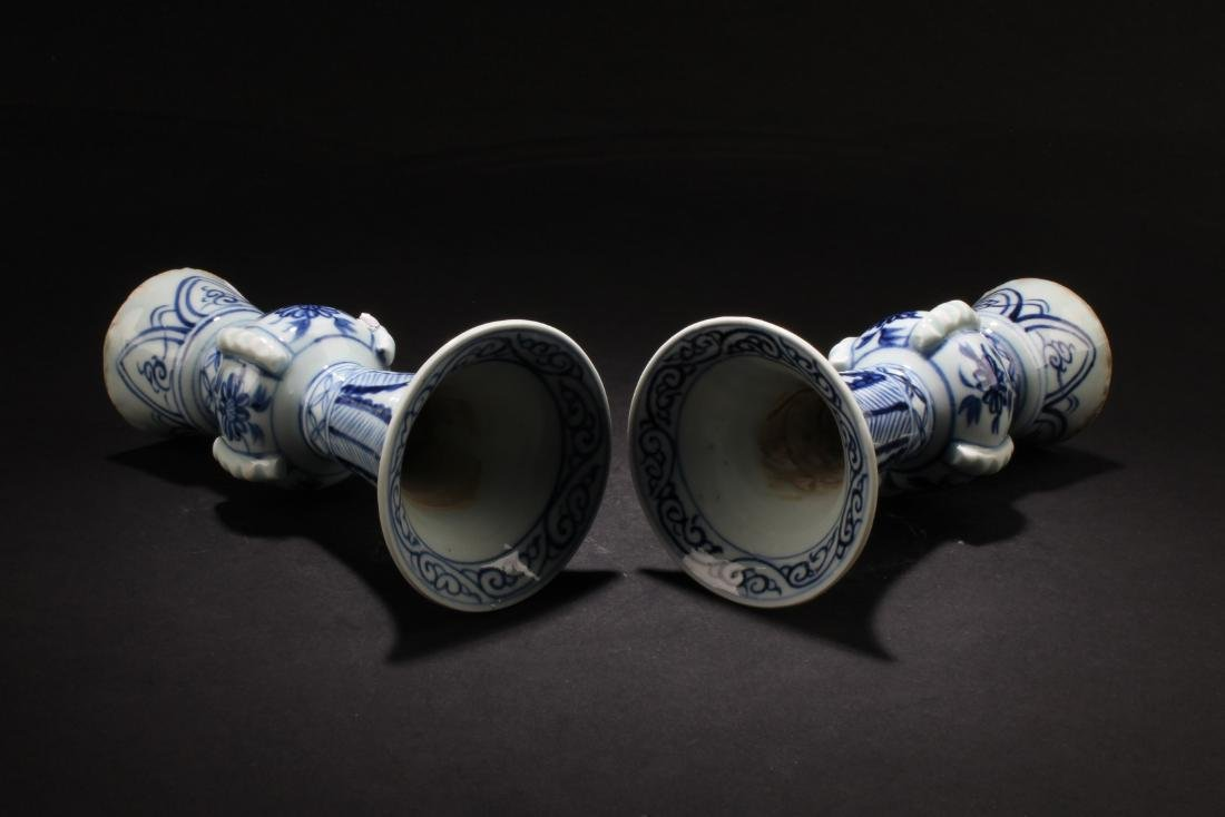 A Pair of Chinese Blue & White Porcelain Candle Holders - 2