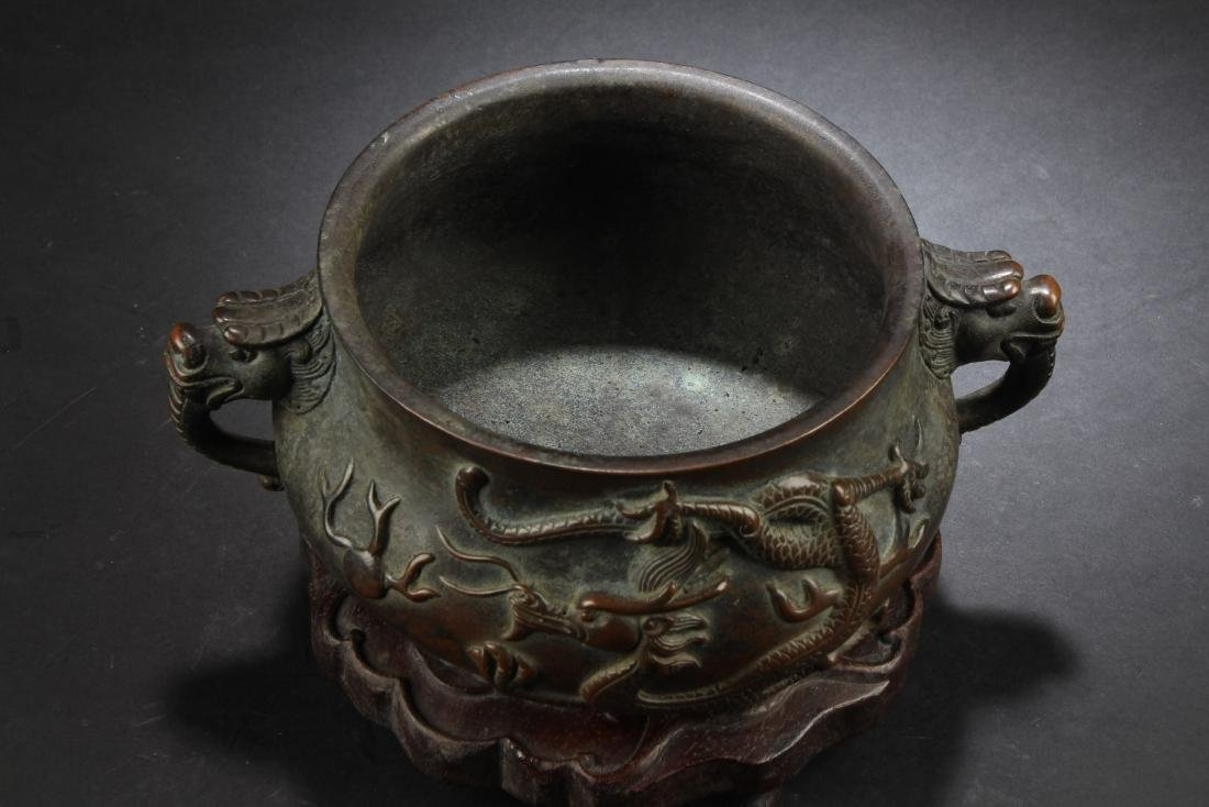 BRONZE CAST 'DRAGONS' CENSER WITH WOODEN STAND - 4