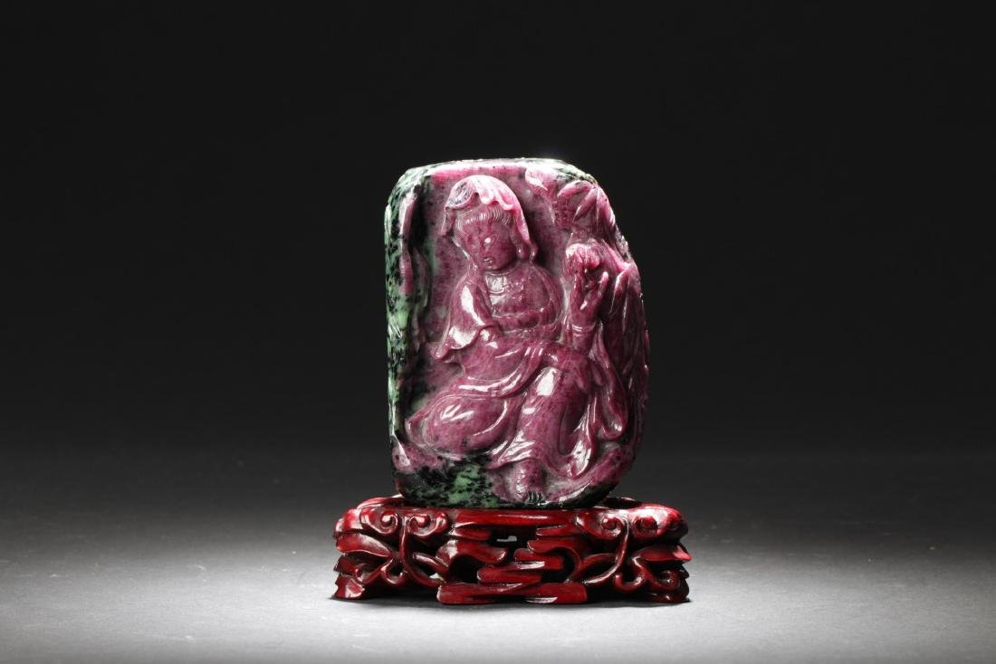 Chinese Ruby Carved Guanyin Statue