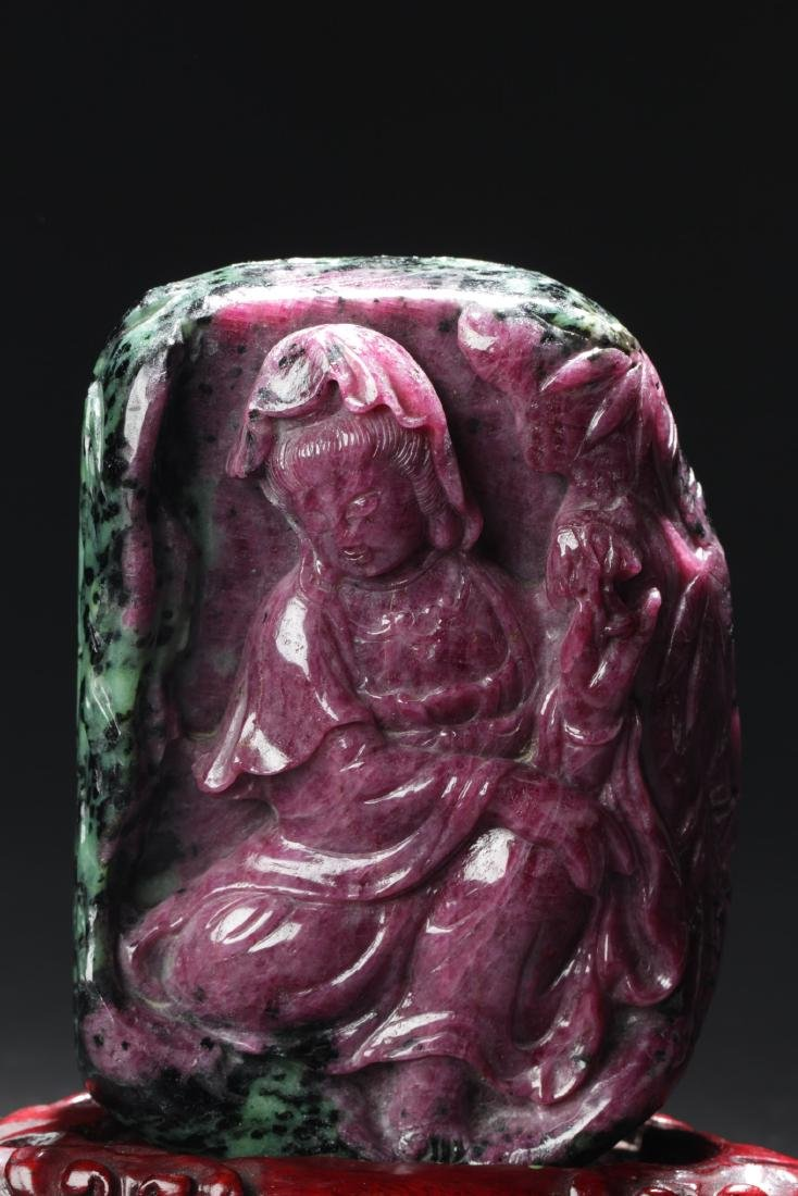 Chinese Ruby Carved Guanyin Statue - 2