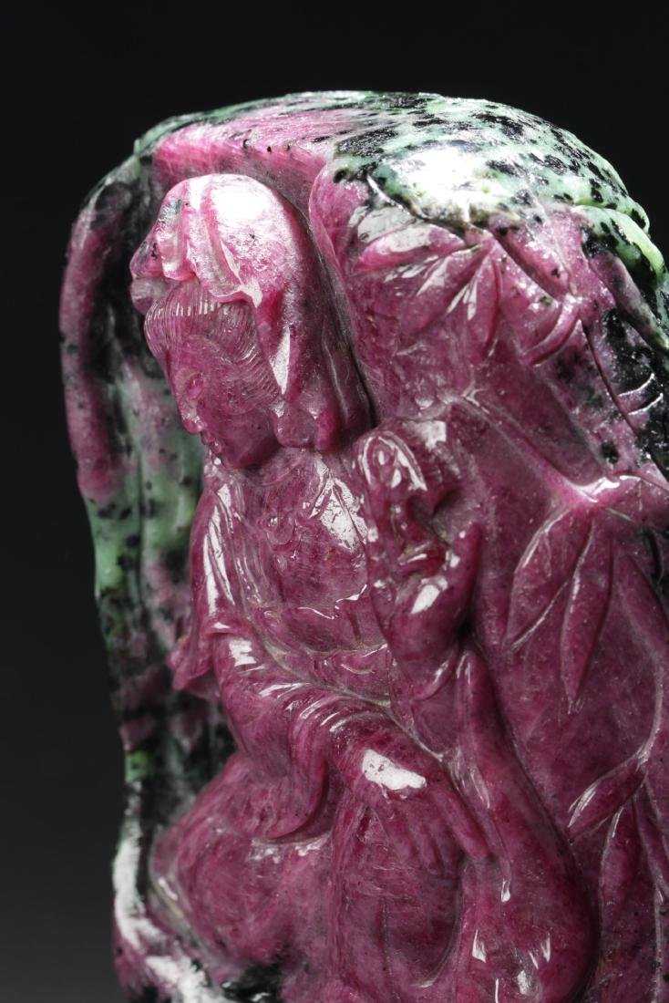 Chinese Ruby Carved Guanyin Statue - 3