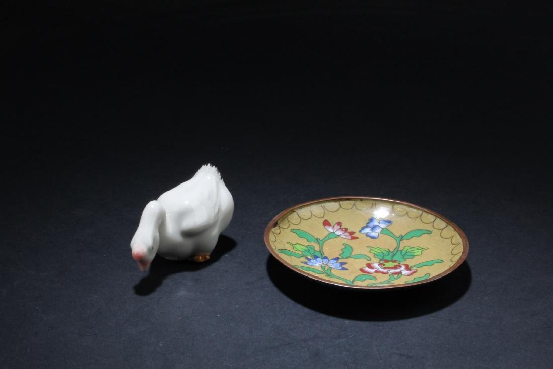 A Cloisonne Saucer & Porcelain Ornament