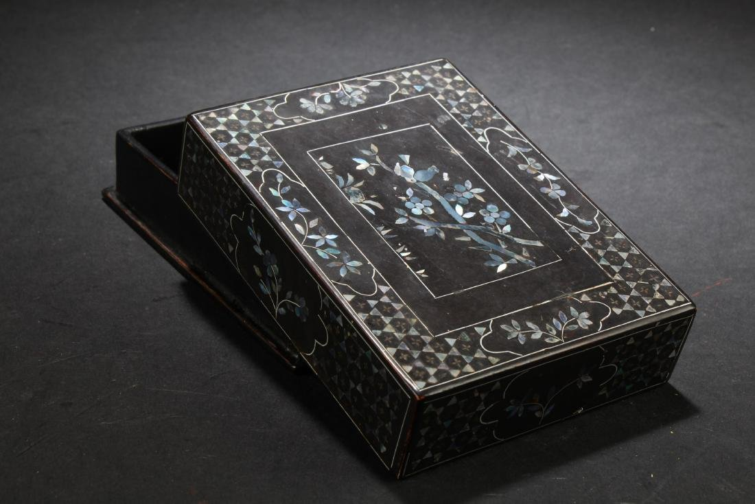 Chinese Rectangular Shaped Lacquered 'Wucai' Pearl