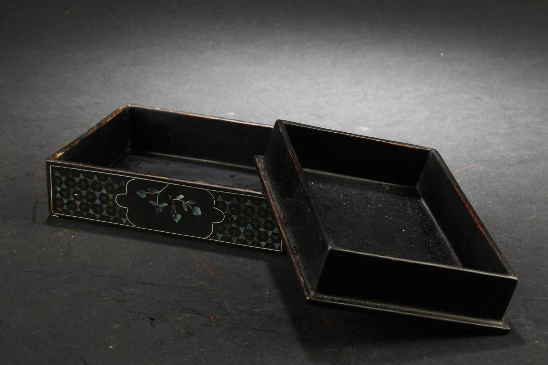 Chinese Rectangular Shaped Lacquered 'Wucai' Pearl - 2