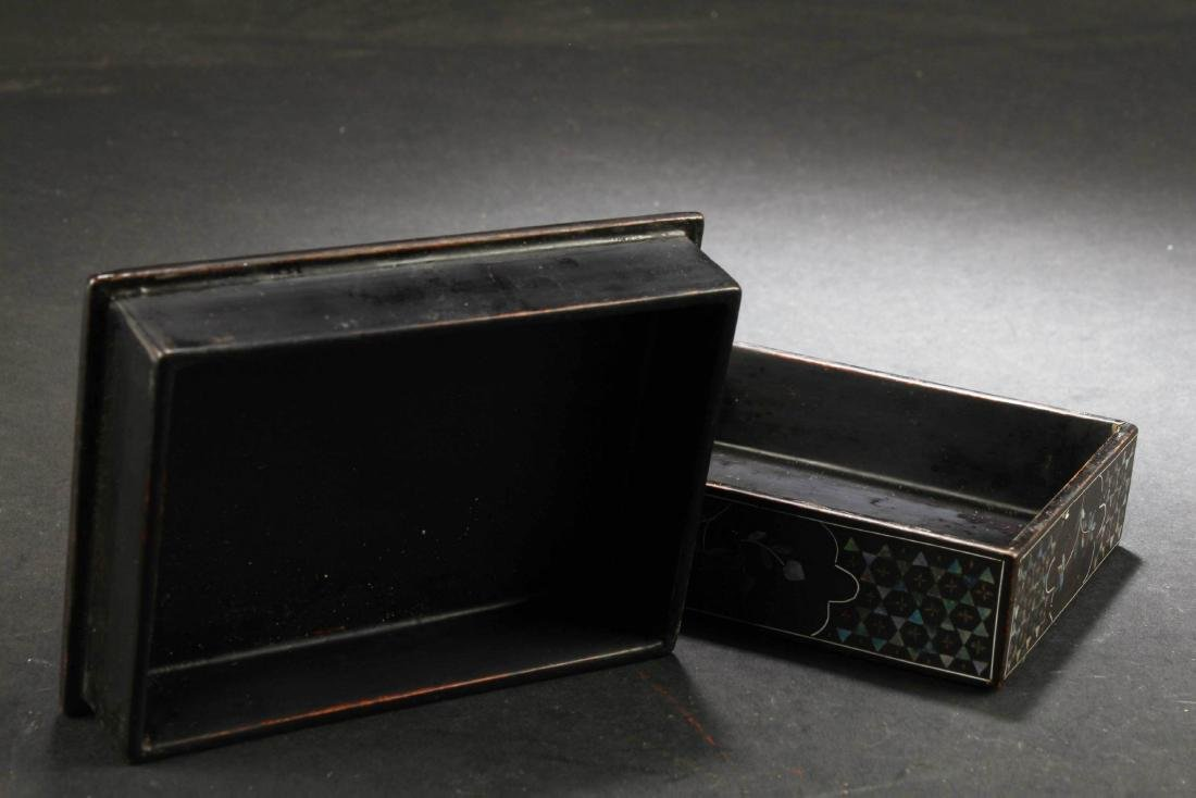 Chinese Rectangular Shaped Lacquered 'Wucai' Pearl - 3