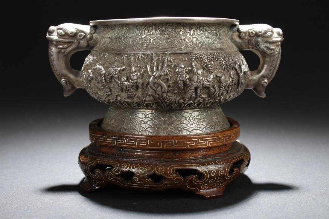Antique Chinese Silver Embossed Censer